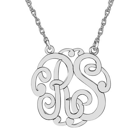 Personalized 25mm Monogram Necklace, One Size , White