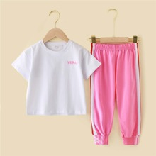 Girls Floral And Letter Graphic Tee & Colorblock Sweatpants