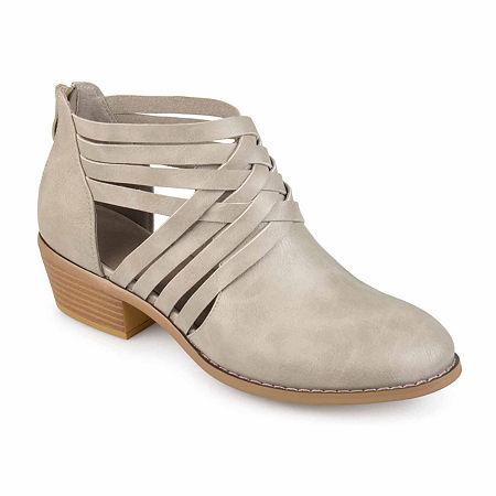 Journee Collection Womens Thelma Booties Block Heel, 8 1/2 Medium, Gray