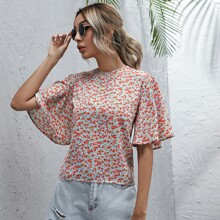 Ditsy Floral Zip Back Blouse
