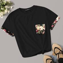 Pocket Patched Floral Cuff Top