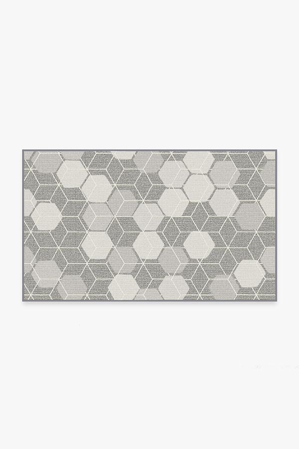 Washable Rug Cover   Outdoor Honeycomb Grey Rug   Stain-Resistant   Ruggable   3'x5'