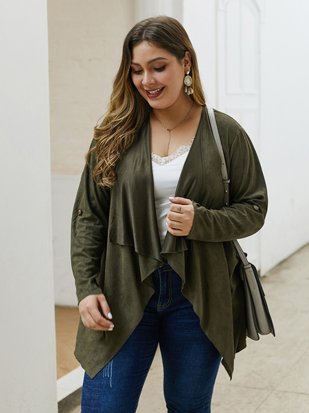 Yoins Plus Size Army Green Lapel Collar Long Sleeves Coat