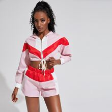 Contrast Panel Zip Up Drawstring Hem Crop Sports Top With Shorts
