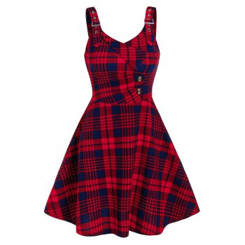 Checked Pattern Button A Line Dress