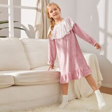 Girls Guipure Lace Bow Front Ruffle Hem Teddy Nightdress