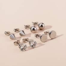 4pairs Rhinestone Decor Double Stud Earrings
