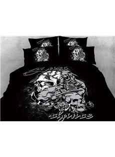 The Grim Reaper And Skull Black And White 3D Printed 4-Piece Cotton Bedding Sets/Duvet Covers