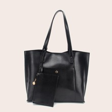Lizard Embossed Tote Bag With Purse