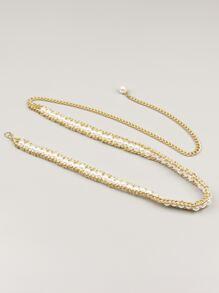 Faux Pearl Beaded Chain Belt