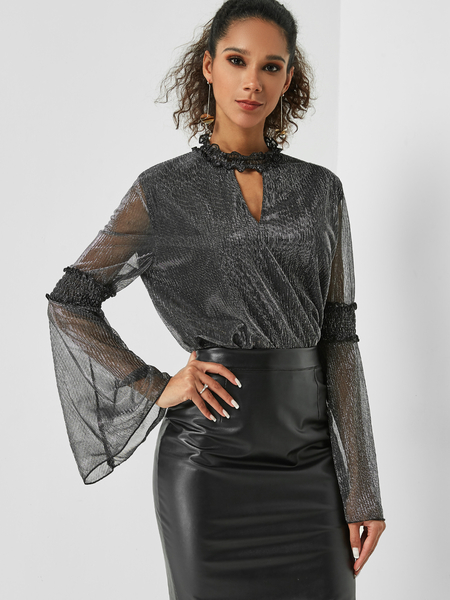 Yoins Black Cut Out Crew Neck Bell Sleeves Sequin Blouse