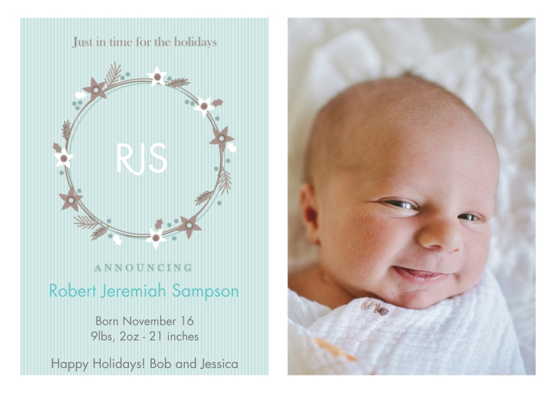 Newborn 5x7 Cards, Premium Cardstock 120lb with Elegant Corners, Card & Stationery -Loving Wreath - Blue by Well Wishes