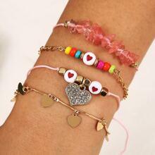 4pcs Rhinestone Heart Charm Bracelet