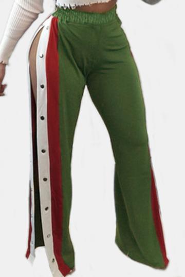 Yoins Active Wide Leg Deep Side Slit Design High Waist Sport Pants in Green