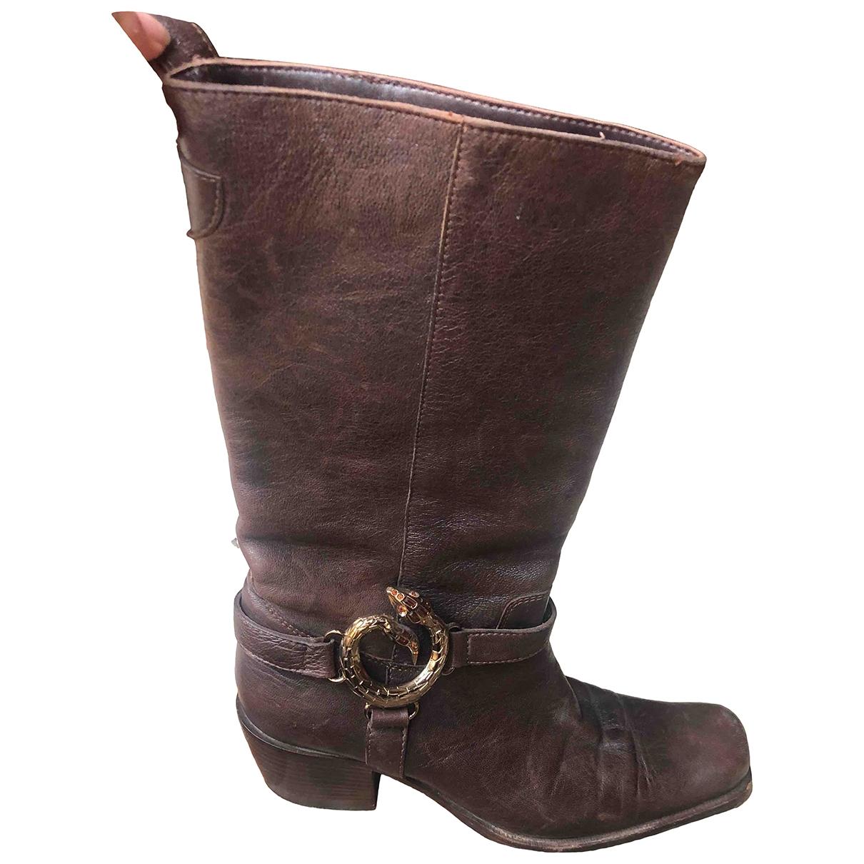 Cesare Paciotti - Boots   pour femme en cuir - marron
