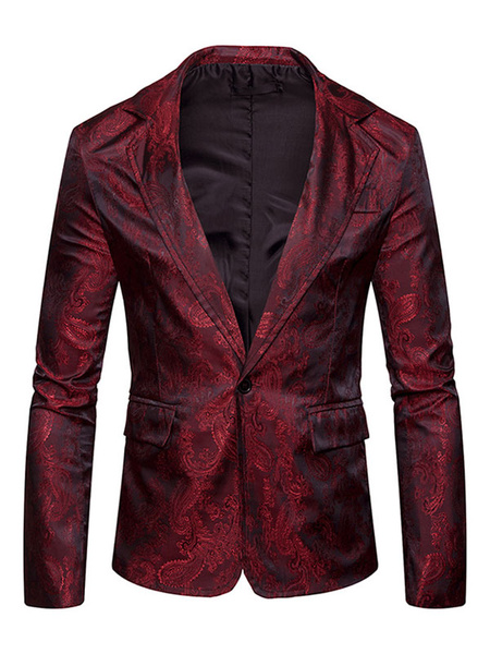 Milanoo Men Casual Blazer Dark Navy Turndown Collar Long Sleeve Printed Suit Jacket Spring Jacket