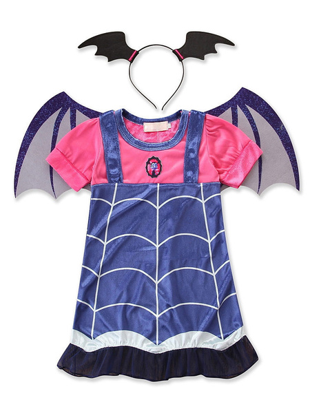 Milanoo Kids Halloween Costumes Blue Demons Cotton Dress With Hairpin Child Cosplay Wears