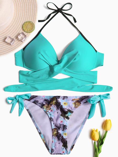 Yoins Lake Blue Halter Crossed Front Lace-up Design Bikini