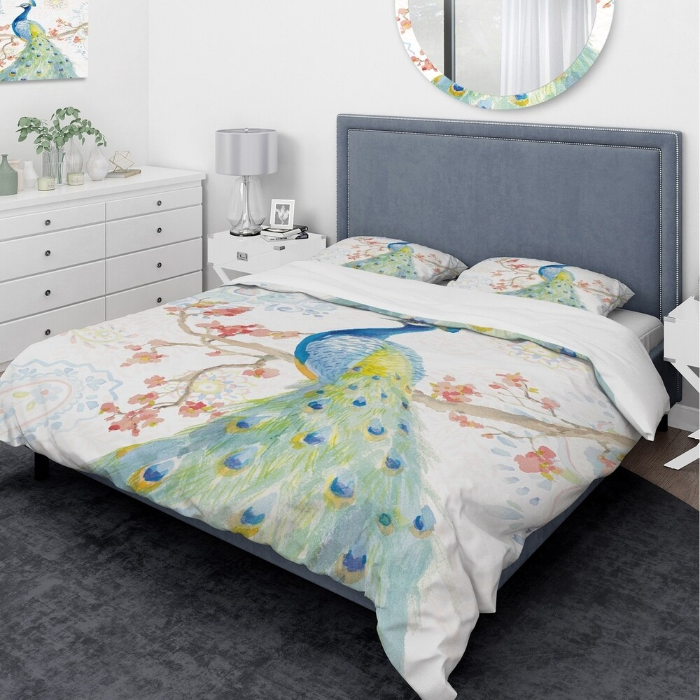 Designart 'peacocks Watercolor II' Traditional Bedding Set - Duvet Cover & Shams - Multi-color (King Cover + 2 king Shams (comforter not included))
