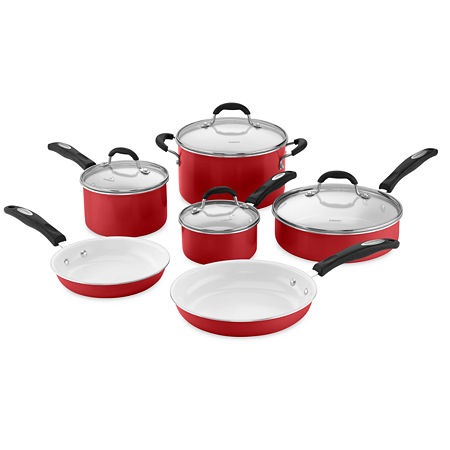 Cuisinart 10-pc. Aluminum Non-Stick Cookware Set, One Size , Red