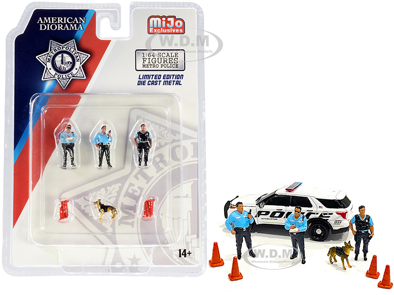 Metropolitan Police 8 piece Diecast Set (3 Figurines 1 Dog and 4 Accessories) for 1/64 Scale Models by American Diorama