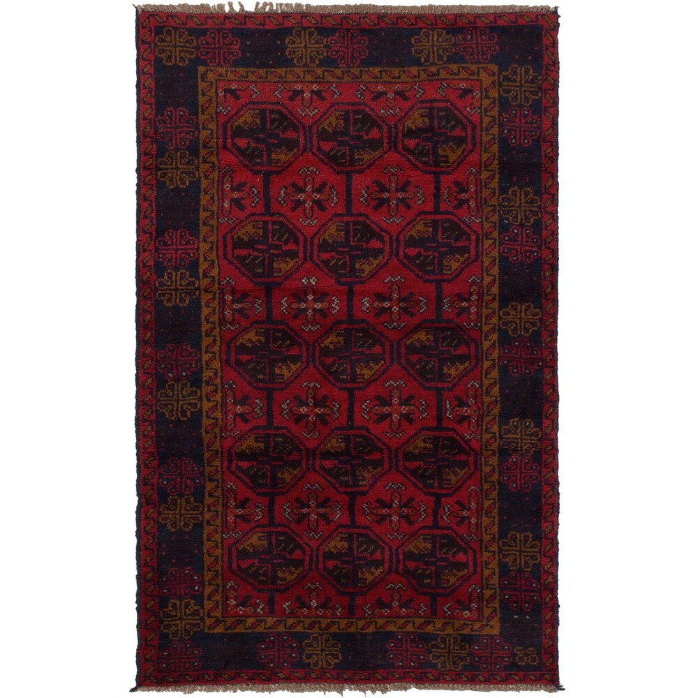 ECARPETGALLERY Hand-knotted Teimani Red Wool Rug - 3'5 x 6'1 (Red - 3'5 x 6'1)