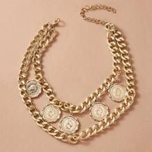 1 Stueck Halskette mit Muenze Anhaenger und mehrschichtigen Ketten