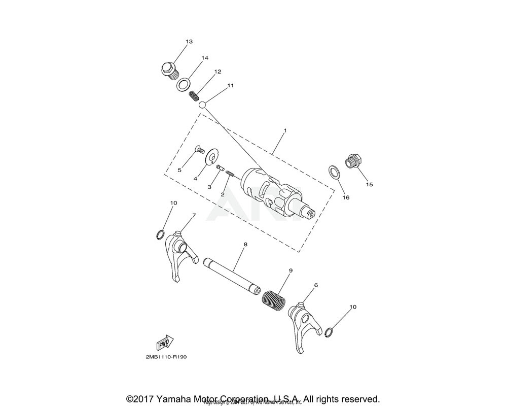 Yamaha OEM 2MB-E8511-00-00 FORK, SHIFT 1