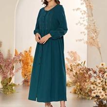 Kleid mit Knopfen vorn und Bischofaermeln