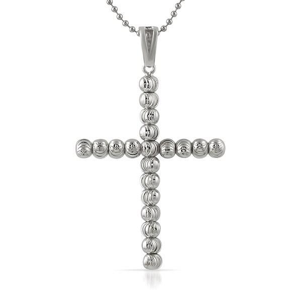 .925 Sterling Silver Moon Cut Cross 6MM