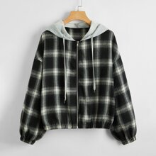 Contrast Hooded Plaid Zip Up Jacket
