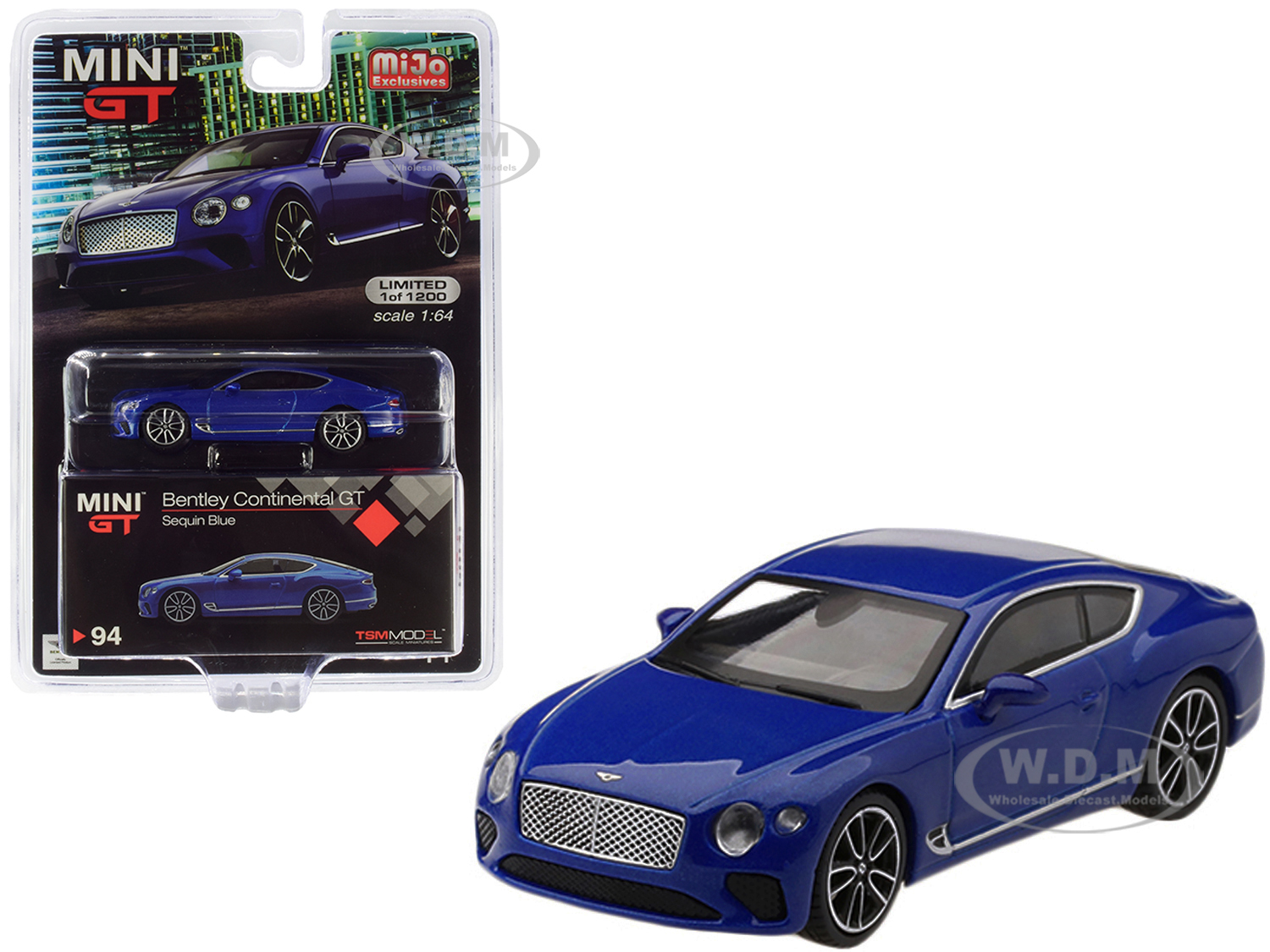 2018 Bentley Continental GT Sequin Blue Metallic Limited Edition to 1200 pieces Worldwide 1/64 Diecast Model Car by True Scale Miniatures