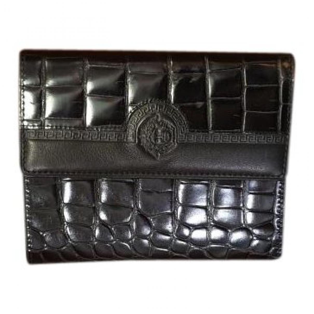Gianni Versace - Portefeuille   pour femme en cuir - noir