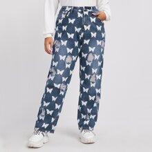 Jeans mit Schmetterling Muster und Riss