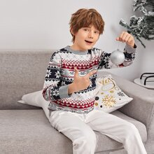 Boys Christmas Snowflake Pattern Sweater
