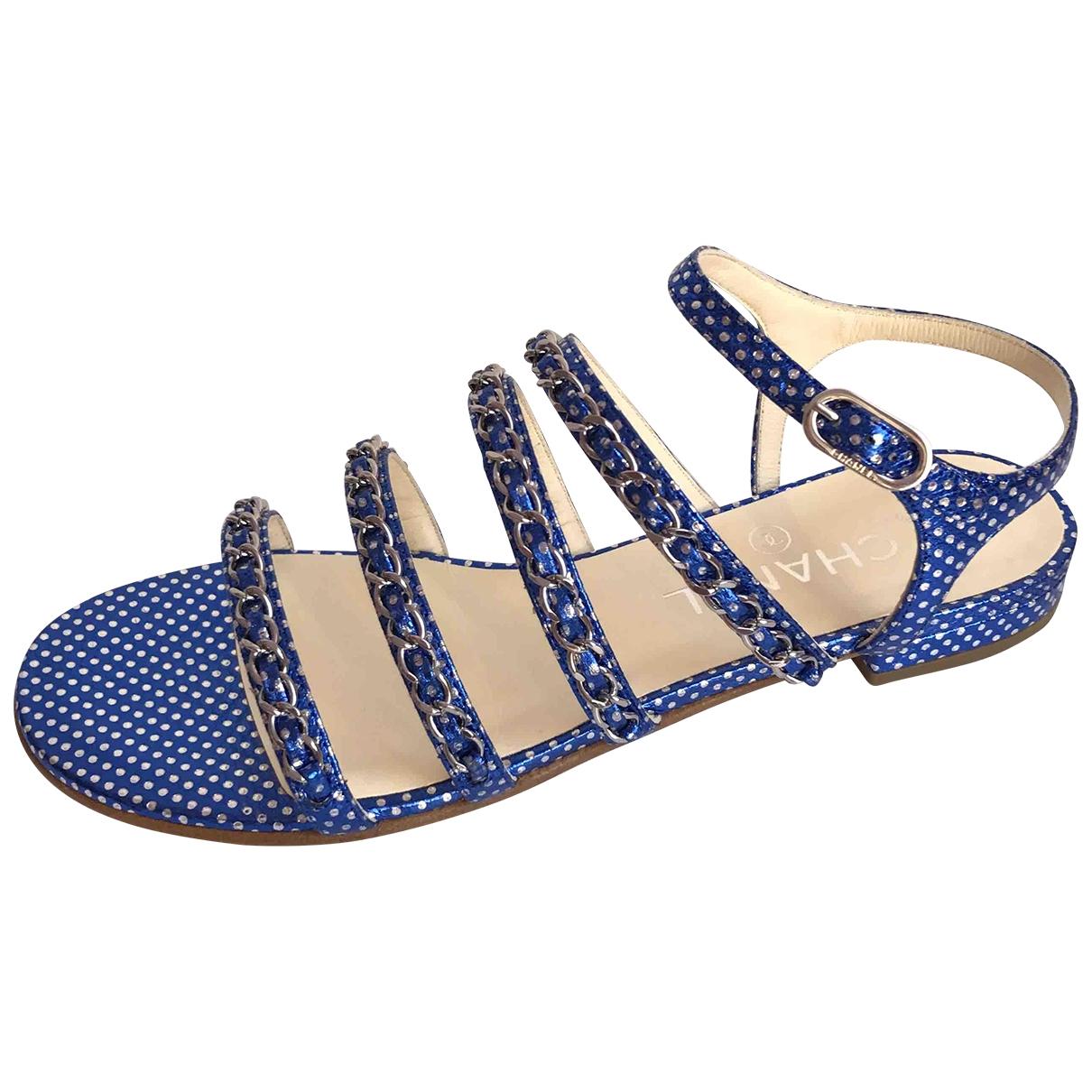 Chanel - Sandales   pour femme en cuir - bleu