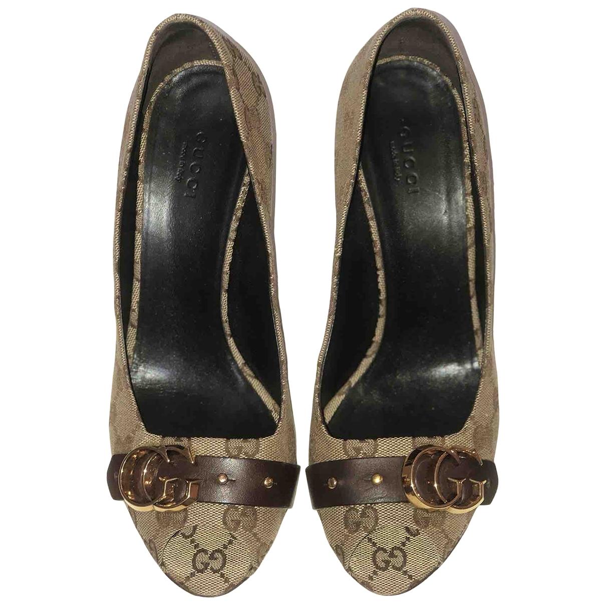 Gucci - Escarpins   pour femme en toile - marron