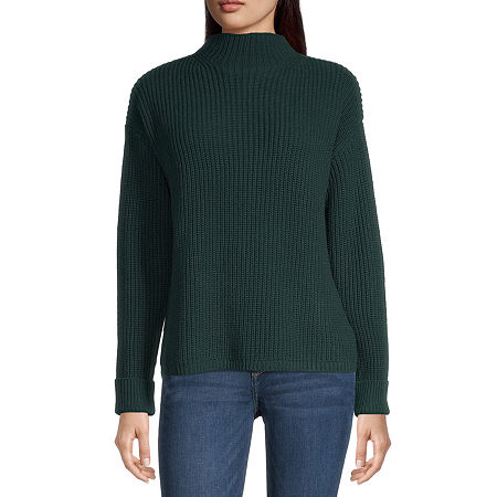 a.n.a Womens Mock Neck Long Sleeve Pullover Sweater, Medium , Green