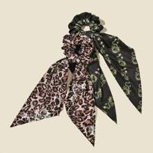 2 Stuecke Haargummis mit Leopard Muster