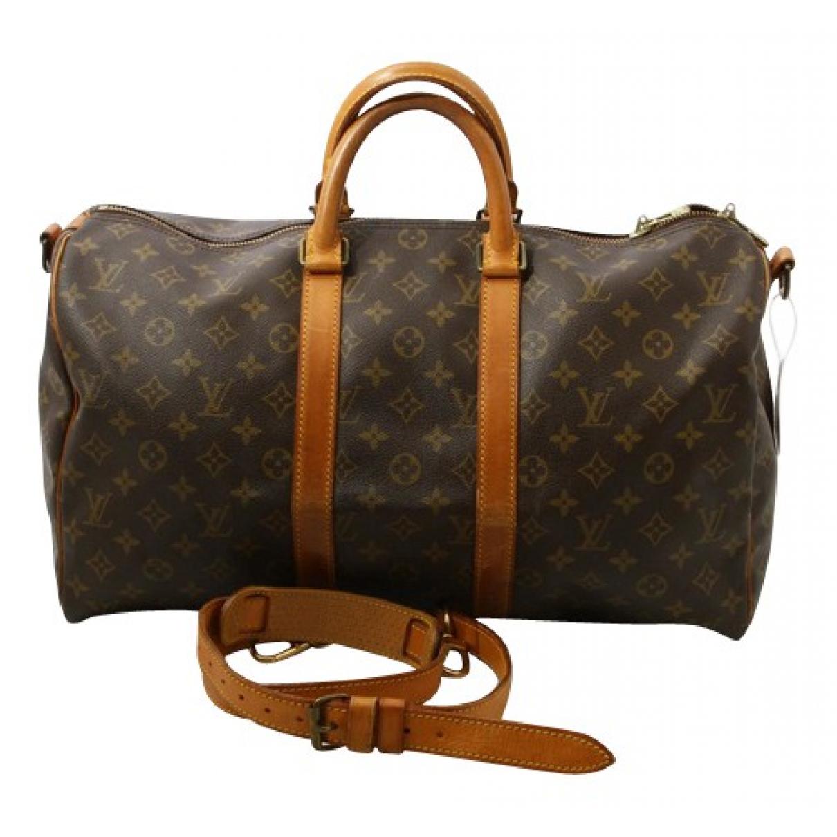 Louis Vuitton Keepall Brown Cloth Travel bag for Women N