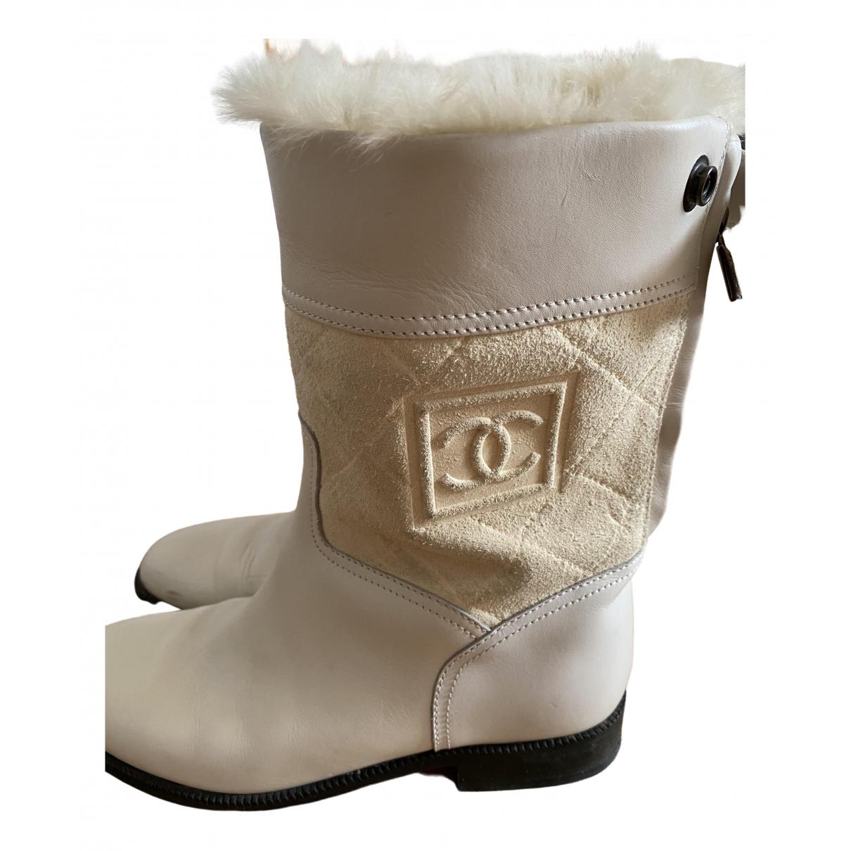 Chanel - Bottes   pour femme en cuir - blanc