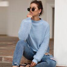 Blau  Einfarbig Casual  Pullover