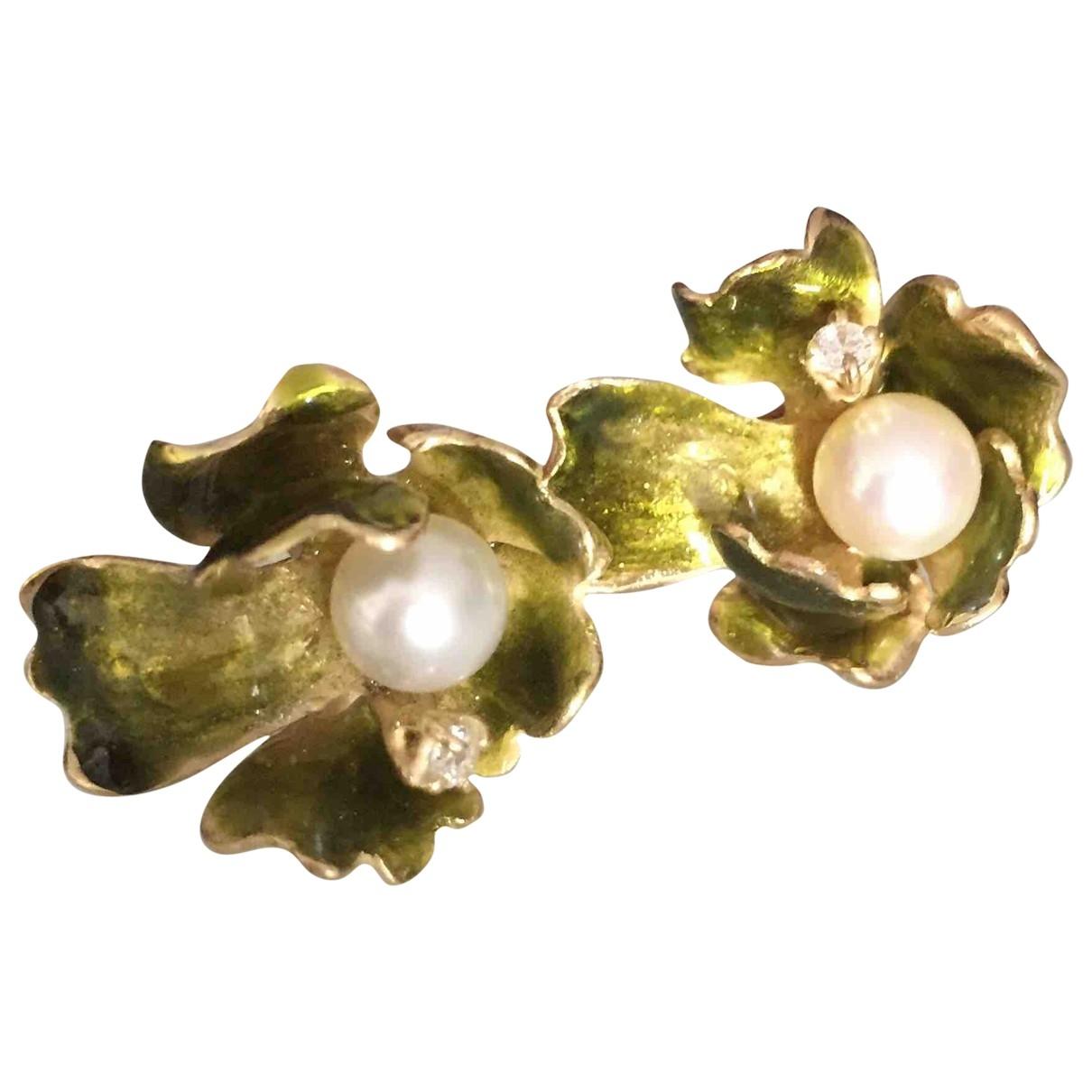 Non Signé / Unsigned Motifs Floraux Green Silver Earrings for Women \N
