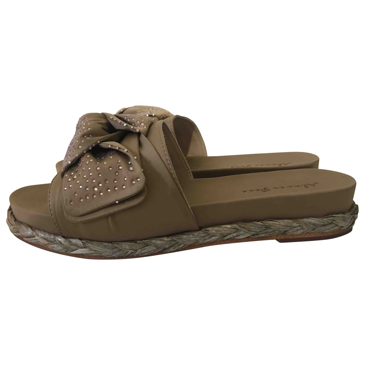 - Sandales   pour femme en toile - camel