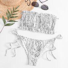 Bandeau Bikini Badeanzug mit Schlangenleder Muster, Ruesche und seitlichem Band