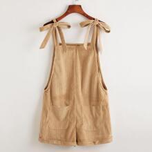 Kord Overall Shorts mit Band auf Schulter, Taschen Flicken und gerolltem Saum