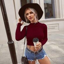 Solid Rib-Knit Mock Neck Sweater