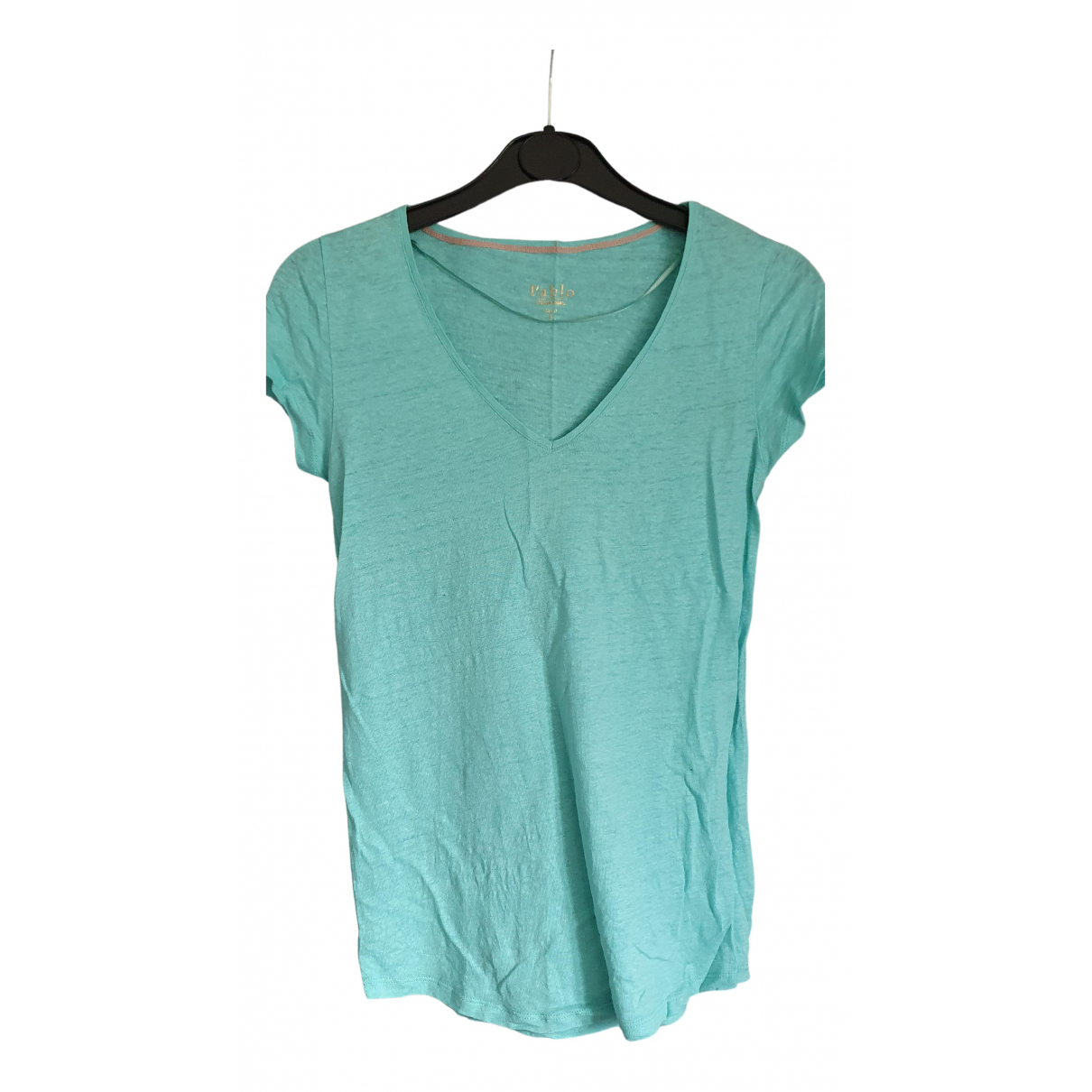 Pablo N Turquoise Linen  top for Women 36 FR