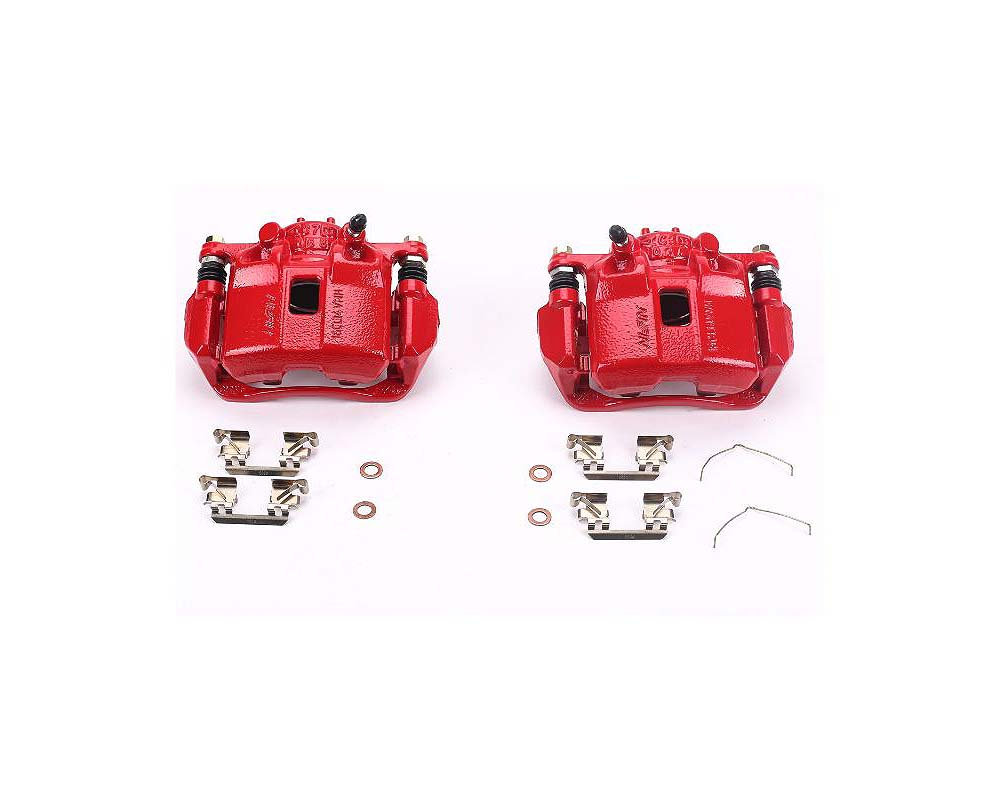 Power Stop S6038 Red Calipers w/Brackets - Pair Front Acura ILX 2013-2015