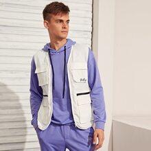 Men Letter Embroidered Flap Pocket Wind Jacket Vest